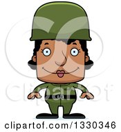 Clipart Of A Cartoon Happy Block Headed Black Woman Soldier Royalty Free Vector Illustration by Cory Thoman