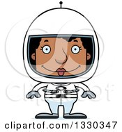 Clipart Of A Cartoon Happy Block Headed Black Woman Astronaut Royalty Free Vector Illustration by Cory Thoman