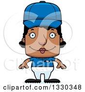 Poster, Art Print Of Cartoon Happy Block Headed Black Woman Baseball Player