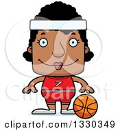Clipart Of A Cartoon Happy Block Headed Black Woman Basketball Player Royalty Free Vector Illustration by Cory Thoman