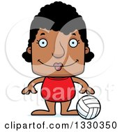 Clipart Of A Cartoon Happy Block Headed Black Woman Beach Volleyball Player Royalty Free Vector Illustration