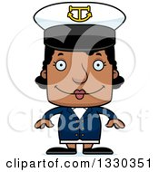 Cartoon Happy Block Headed Black Woman Boat Captain