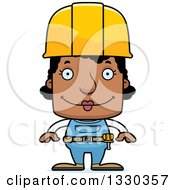Cartoon Happy Block Headed Black Woman Construction Worker