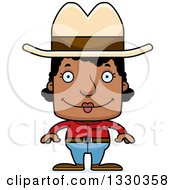 Clipart Of A Cartoon Happy Block Headed Black Woman Cowboy Royalty Free Vector Illustration by Cory Thoman