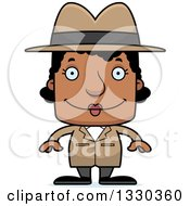 Clipart Of A Cartoon Happy Block Headed Black Woman Detective Royalty Free Vector Illustration by Cory Thoman