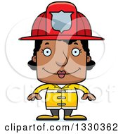 Clipart Of A Cartoon Happy Block Headed Black Woman Firefighter Royalty Free Vector Illustration by Cory Thoman