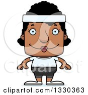 Clipart Of A Cartoon Happy Block Headed Black Fitness Woman Royalty Free Vector Illustration by Cory Thoman
