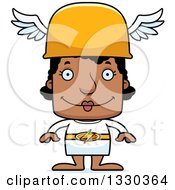 Clipart Of A Cartoon Happy Block Headed Black Woman Hermes Royalty Free Vector Illustration