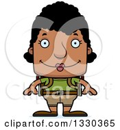 Clipart Of A Cartoon Happy Block Headed Black Woman Hiker Royalty Free Vector Illustration by Cory Thoman