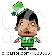 Clipart Of A Cartoon Happy Block Headed Black St Patricks Day Woman Royalty Free Vector Illustration by Cory Thoman