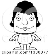 Lineart Clipart Of A Cartoon Black And White Happy Block Headed Black Woman Swimmer Royalty Free Outline Vector Illustration