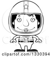 Lineart Clipart Of A Cartoon Black And White Happy Block Headed Black Woman Race Car Driver Royalty Free Outline Vector Illustration
