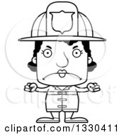 Lineart Clipart Of A Cartoon Black And White Mad Block Headed Black Woman Firefighter Royalty Free Outline Vector Illustration by Cory Thoman