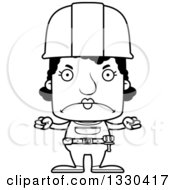 Cartoon Black And White Mad Block Headed Black Woman Construction Worker