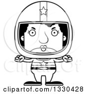Lineart Clipart Of A Cartoon Black And White Mad Block Headed Black Woman Race Car Driver Royalty Free Outline Vector Illustration