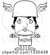 Lineart Clipart Of A Cartoon Black And White Mad Block Headed Black Woman Hermes Royalty Free Outline Vector Illustration