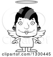 Lineart Clipart Of A Cartoon Black And White Happy Block Headed Black Woman Angel Royalty Free Outline Vector Illustration
