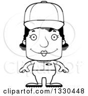 Lineart Clipart Of A Cartoon Black And White Happy Block Headed Black Woman Baseball Player Royalty Free Outline Vector Illustration