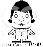 Lineart Clipart Of A Cartoon Black And White Happy Block Headed Black Woman Royalty Free Outline Vector Illustration
