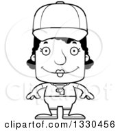 Lineart Clipart Of A Cartoon Black And White Happy Block Headed Black Woman Sports Coach Royalty Free Outline Vector Illustration