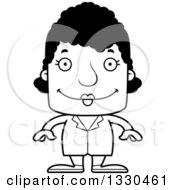 Cartoon Black And White Happy Block Headed Black Woman Doctor