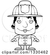 Lineart Clipart Of A Cartoon Black And White Happy Block Headed Black Woman Firefighter Royalty Free Outline Vector Illustration by Cory Thoman