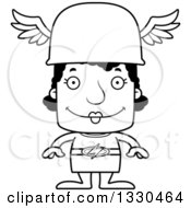 Lineart Clipart Of A Cartoon Black And White Happy Block Headed Black Woman Hermes Royalty Free Outline Vector Illustration