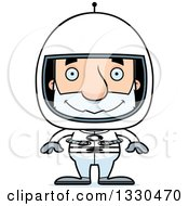Clipart Of A Cartoon Happy Block Headed White Senior Man Astronaut Royalty Free Vector Illustration by Cory Thoman