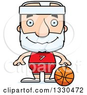 Clipart Of A Cartoon Happy Block Headed White Senior Man Basketball Player Royalty Free Vector Illustration by Cory Thoman
