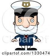 Clipart Of A Cartoon Happy Block Headed White Senior Man Boat Captain Royalty Free Vector Illustration by Cory Thoman