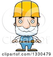 Clipart Of A Cartoon Happy Block Headed White Senior Man Construction Worker Royalty Free Vector Illustration by Cory Thoman