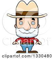 Clipart Of A Cartoon Happy Block Headed White Senior Man Cowboy Royalty Free Vector Illustration by Cory Thoman