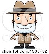 Clipart Of A Cartoon Happy Block Headed White Senior Man Detective Royalty Free Vector Illustration by Cory Thoman