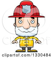 Clipart Of A Cartoon Happy Block Headed White Senior Man Firefighter Royalty Free Vector Illustration by Cory Thoman