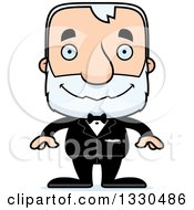 Clipart Of A Cartoon Happy Block Headed White Senior Man Groom Royalty Free Vector Illustration