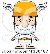 Clipart Of A Cartoon Happy Block Headed White Senior Man Hermes Royalty Free Vector Illustration