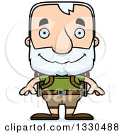 Clipart Of A Cartoon Happy Block Headed White Senior Man Hiker Royalty Free Vector Illustration by Cory Thoman