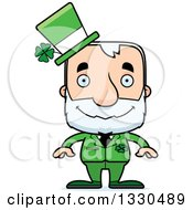 Clipart Of A Cartoon Happy Block Headed White Senior Irish St Patricks Day Man Royalty Free Vector Illustration by Cory Thoman
