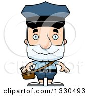 Clipart Of A Cartoon Happy Block Headed White Senior Mail Man Royalty Free Vector Illustration by Cory Thoman