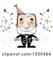 Clipart Of A Cartoon Happy Block Headed White Senior Party Man Royalty Free Vector Illustration by Cory Thoman