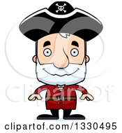 Clipart Of A Cartoon Happy Block Headed White Senior Man Pirate Royalty Free Vector Illustration by Cory Thoman