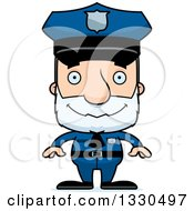 Clipart Of A Cartoon Happy Block Headed White Senior Man Police Officer Royalty Free Vector Illustration by Cory Thoman