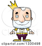 Clipart Of A Cartoon Happy Block Headed White Senior Man Prince Royalty Free Vector Illustration by Cory Thoman