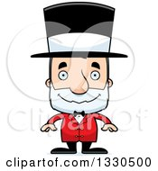 Clipart Of A Cartoon Happy Block Headed White Senior Man Circus Ringmaster Royalty Free Vector Illustration