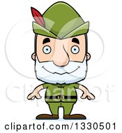 Clipart Of A Cartoon Happy Block Headed White Senior Robin Hood Man Royalty Free Vector Illustration by Cory Thoman