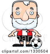Clipart Of A Cartoon Happy Block Headed White Senior Man Soccer Player Royalty Free Vector Illustration by Cory Thoman