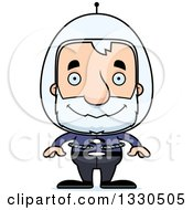 Clipart Of A Cartoon Happy Block Headed Futuristic White Senior Space Man Royalty Free Vector Illustration by Cory Thoman