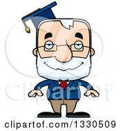Clipart Of A Cartoon Happy Block Headed White Senior Man Professor Royalty Free Vector Illustration by Cory Thoman