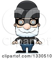 Clipart Of A Cartoon Happy Block Headed White Senior Man Robber Royalty Free Vector Illustration by Cory Thoman