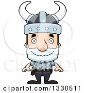 Clipart Of A Cartoon Happy Block Headed White Senior Man Viking Royalty Free Vector Illustration by Cory Thoman